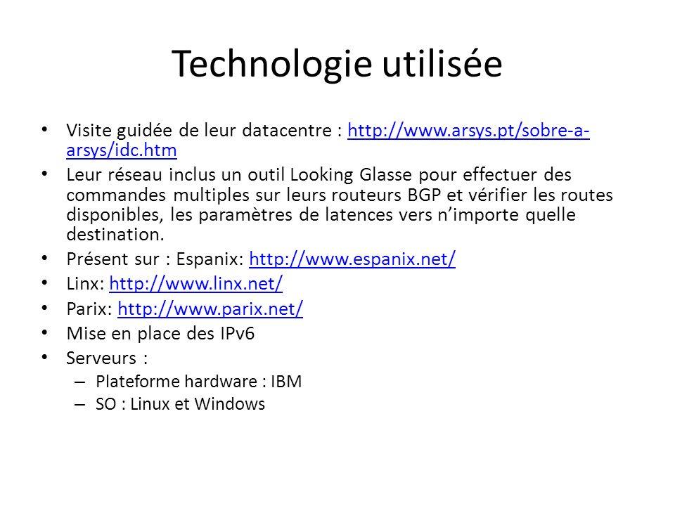 Technologie utilisée Visite guidée de leur datacentre : http://www.arsys.pt/sobre-a- arsys/idc.htmhttp://www.arsys.pt/sobre-a- arsys/idc.htm Leur rése