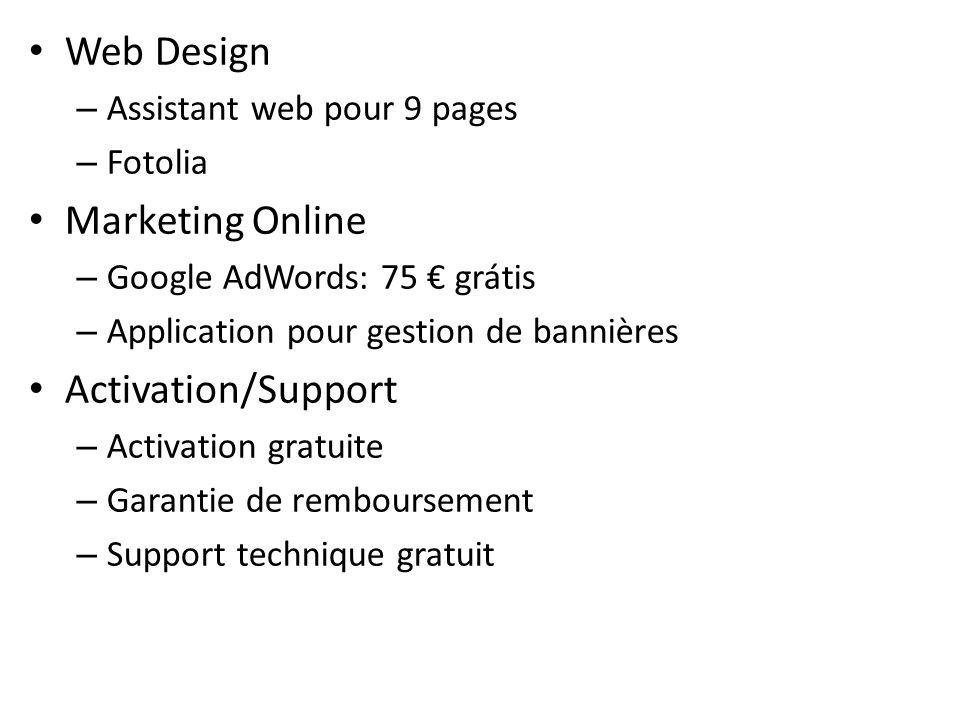 Web Design – Assistant web pour 9 pages – Fotolia Marketing Online – Google AdWords: 75 grátis – Application pour gestion de bannières Activation/Supp