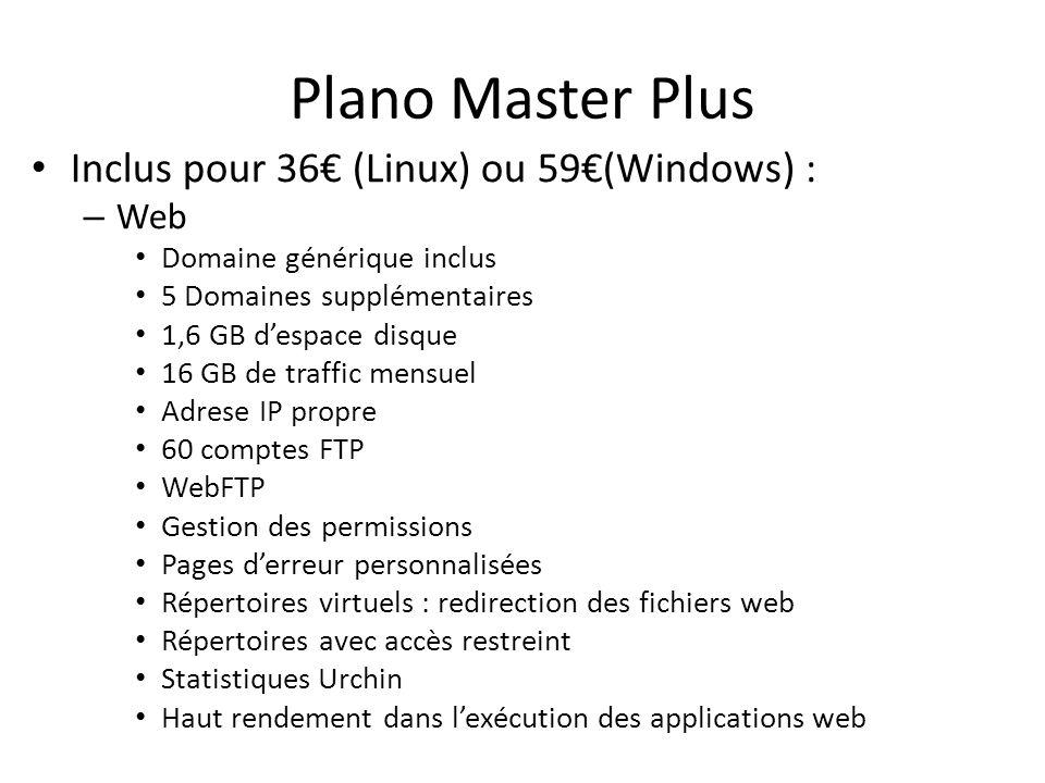 Plano Master Plus Inclus pour 36 (Linux) ou 59(Windows) : – Web Domaine générique inclus 5 Domaines supplémentaires 1,6 GB despace disque 16 GB de tra
