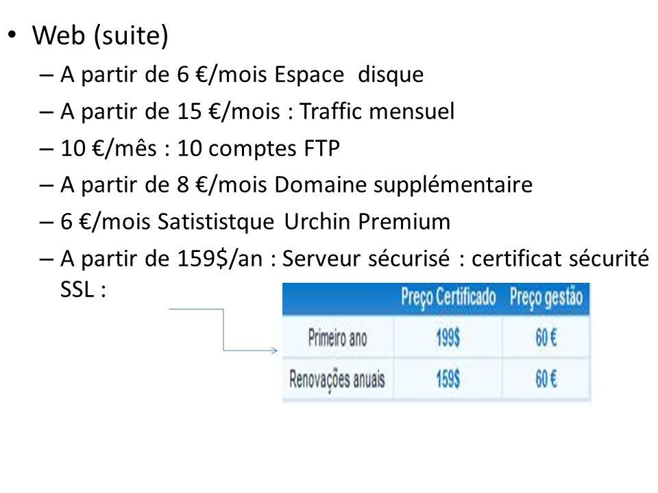 Web (suite) – A partir de 6 /mois Espace disque – A partir de 15 /mois : Traffic mensuel – 10 /mês : 10 comptes FTP – A partir de 8 /mois Domaine supp