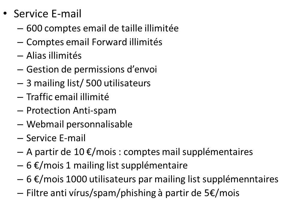 Service E-mail – 600 comptes email de taille illimitée – Comptes email Forward illimités – Alias illimités – Gestion de permissions denvoi – 3 mailing