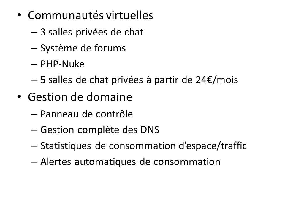 Communautés virtuelles – 3 salles privées de chat – Système de forums – PHP-Nuke – 5 salles de chat privées à partir de 24/mois Gestion de domaine – P