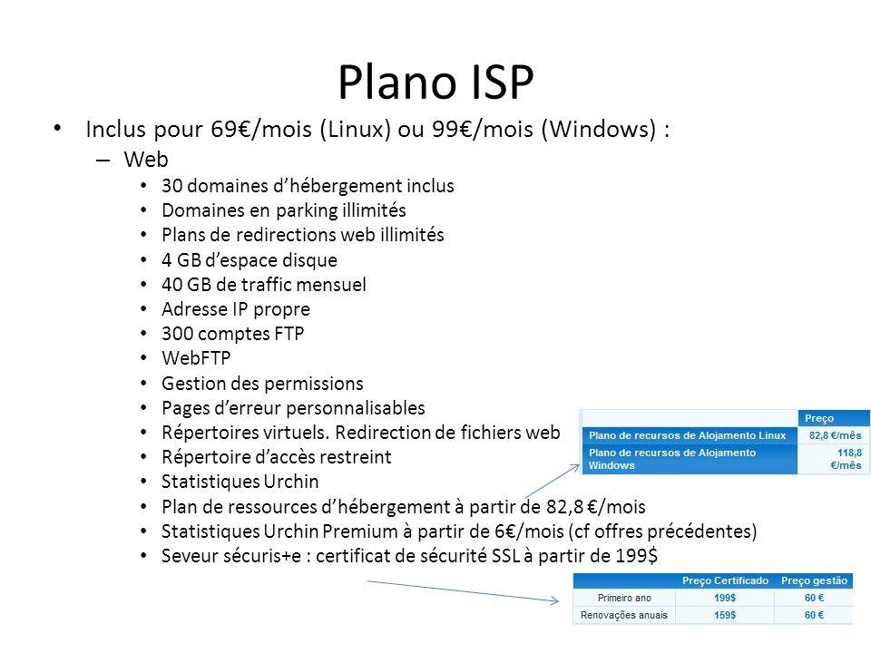 Plano ISP Inclus pour 69/mois (Linux) ou 99/mois (Windows) : – Web 30 domaines dhébergement inclus Domaines en parking illimités Plans de redirections