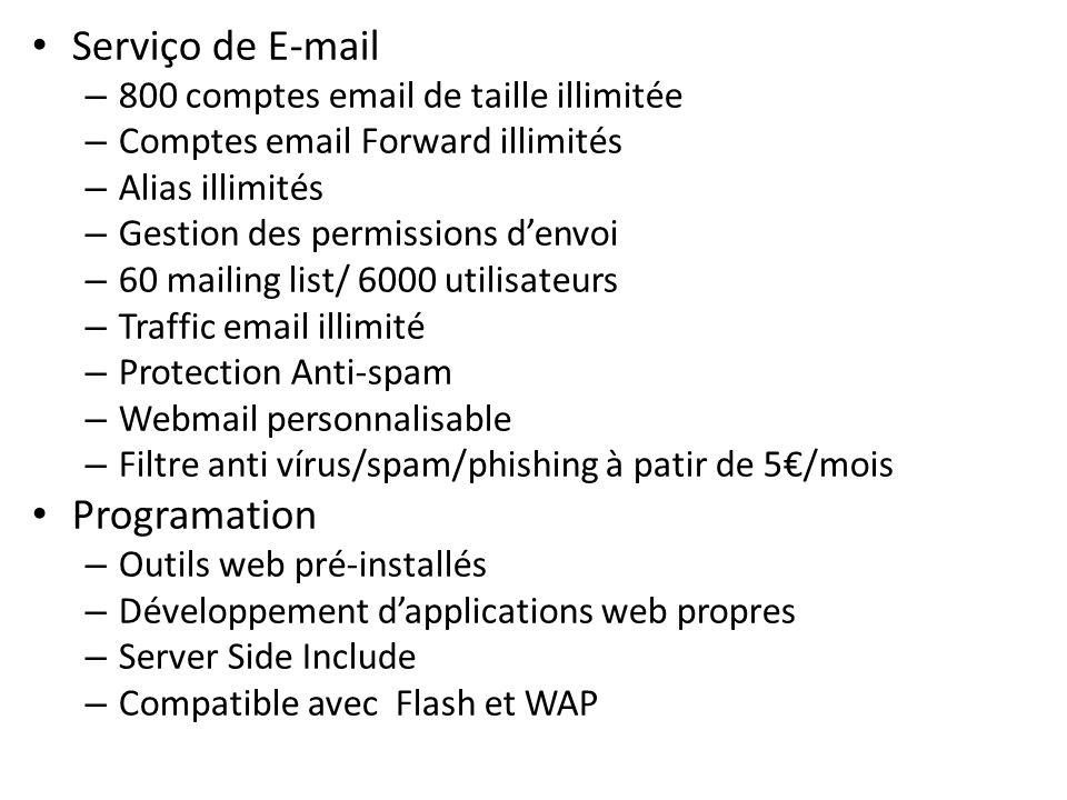 Serviço de E-mail – 800 comptes email de taille illimitée – Comptes email Forward illimités – Alias illimités – Gestion des permissions denvoi – 60 ma
