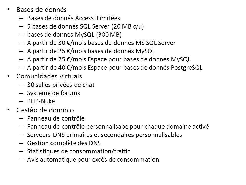 Bases de donnés – Bases de donnés Access illimitées – 5 bases de donnés SQL Server (20 MB c/u) – bases de donnés MySQL (300 MB) – A partir de 30 /mois