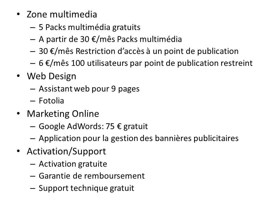 Zone multimedia – 5 Packs multimédia gratuits – A partir de 30 /mês Packs multimédia – 30 /mês Restriction daccès à un point de publication – 6 /mês 1