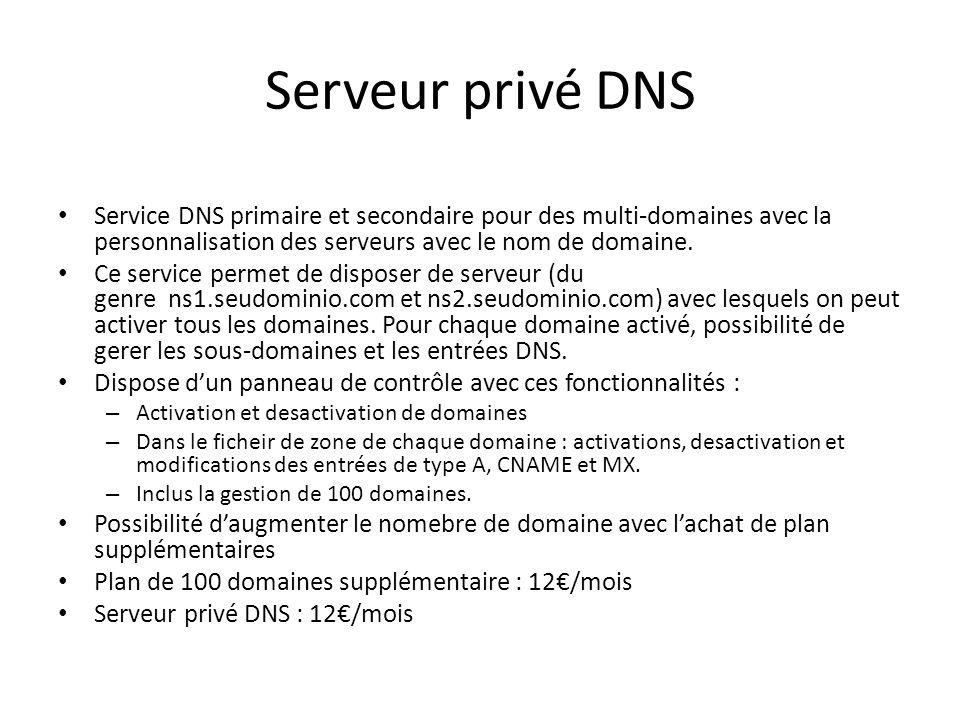 Serveur privé DNS Service DNS primaire et secondaire pour des multi-domaines avec la personnalisation des serveurs avec le nom de domaine. Ce service