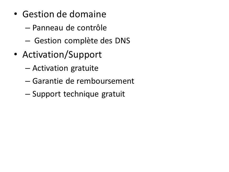 Gestion de domaine – Panneau de contrôle – Gestion complète des DNS Activation/Support – Activation gratuite – Garantie de remboursement – Support tec