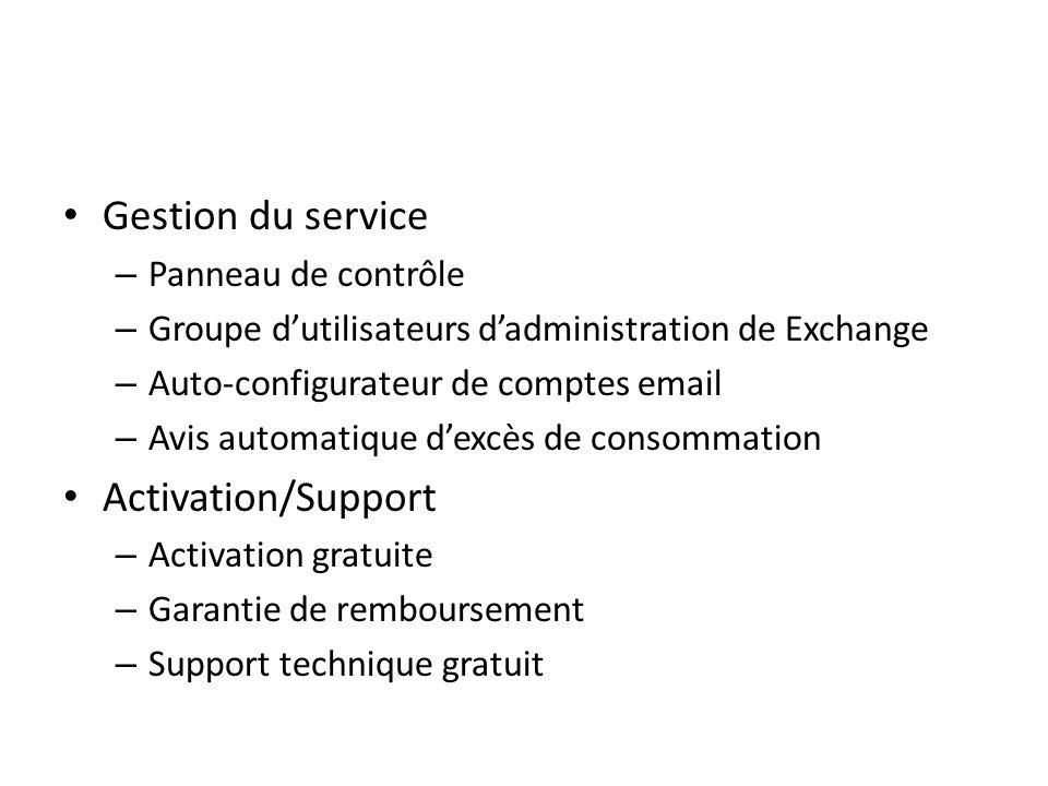 Gestion du service – Panneau de contrôle – Groupe dutilisateurs dadministration de Exchange – Auto-configurateur de comptes email – Avis automatique d