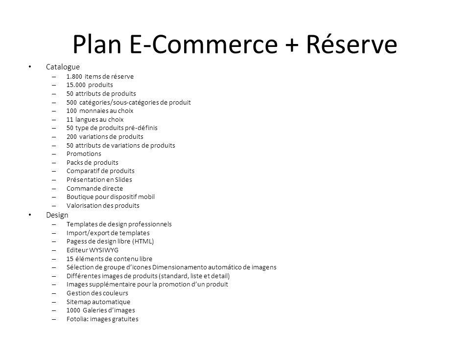 Plan E-Commerce + Réserve Catalogue – 1.800 items de réserve – 15.000 produits – 50 attributs de produits – 500 catégories/sous-catégories de produit