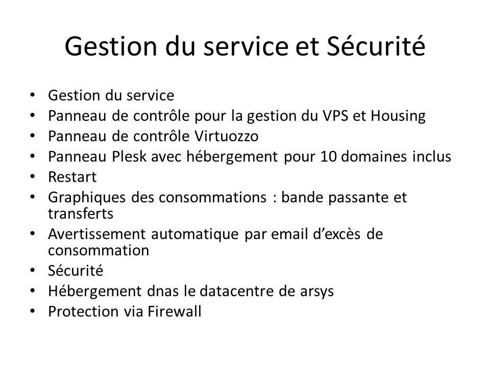 Gestion du service et Sécurité Gestion du service Panneau de contrôle pour la gestion du VPS et Housing Panneau de contrôle Virtuozzo Panneau Plesk av