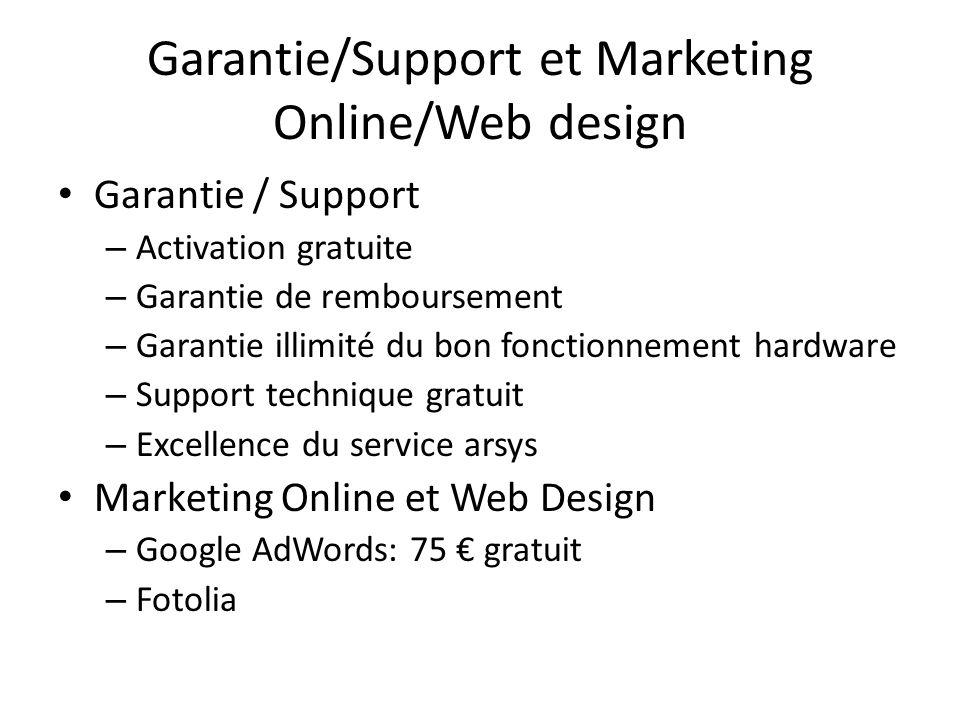 Garantie/Support et Marketing Online/Web design Garantie / Support – Activation gratuite – Garantie de remboursement – Garantie illimité du bon foncti