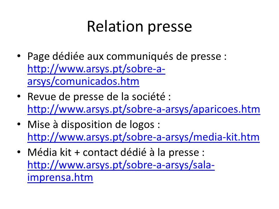 Relation presse Page dédiée aux communiqués de presse : http://www.arsys.pt/sobre-a- arsys/comunicados.htm http://www.arsys.pt/sobre-a- arsys/comunica