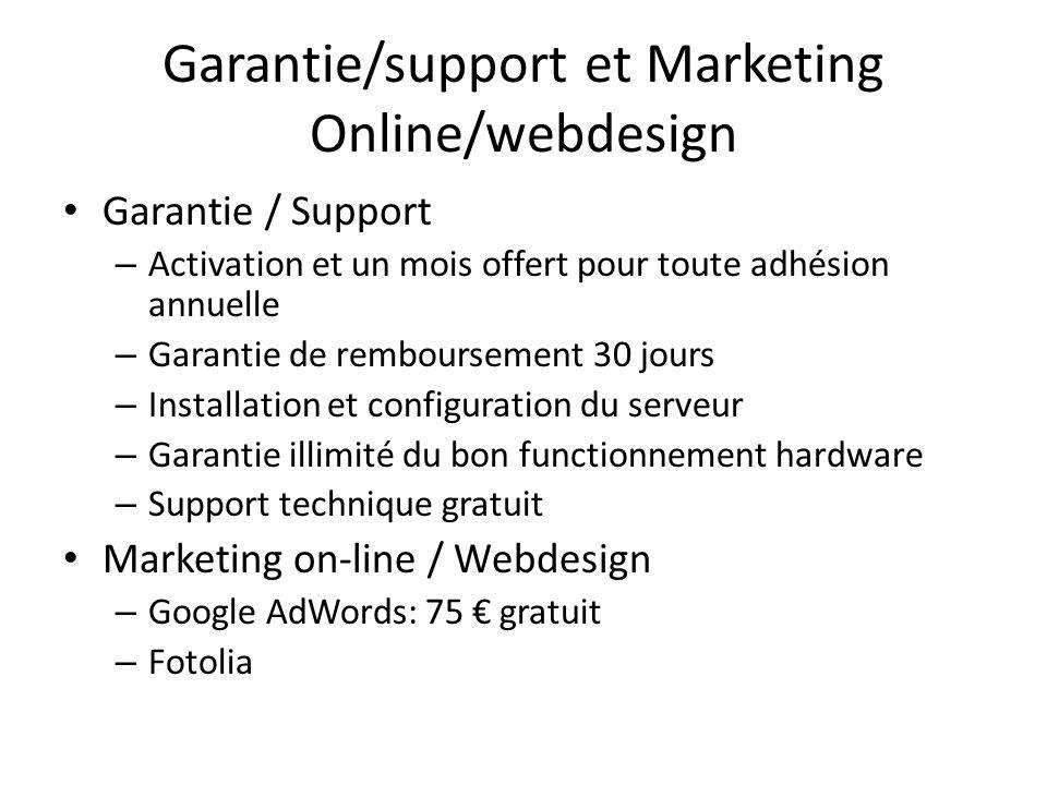 Garantie/support et Marketing Online/webdesign Garantie / Support – Activation et un mois offert pour toute adhésion annuelle – Garantie de remboursem