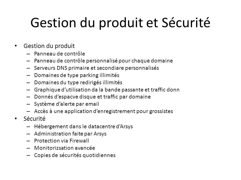 Gestion du produit et Sécurité Gestion du produit – Panneau de contrôle – Panneau de contrôle personnalisé pour chaque domaine – Serveurs DNS primaire