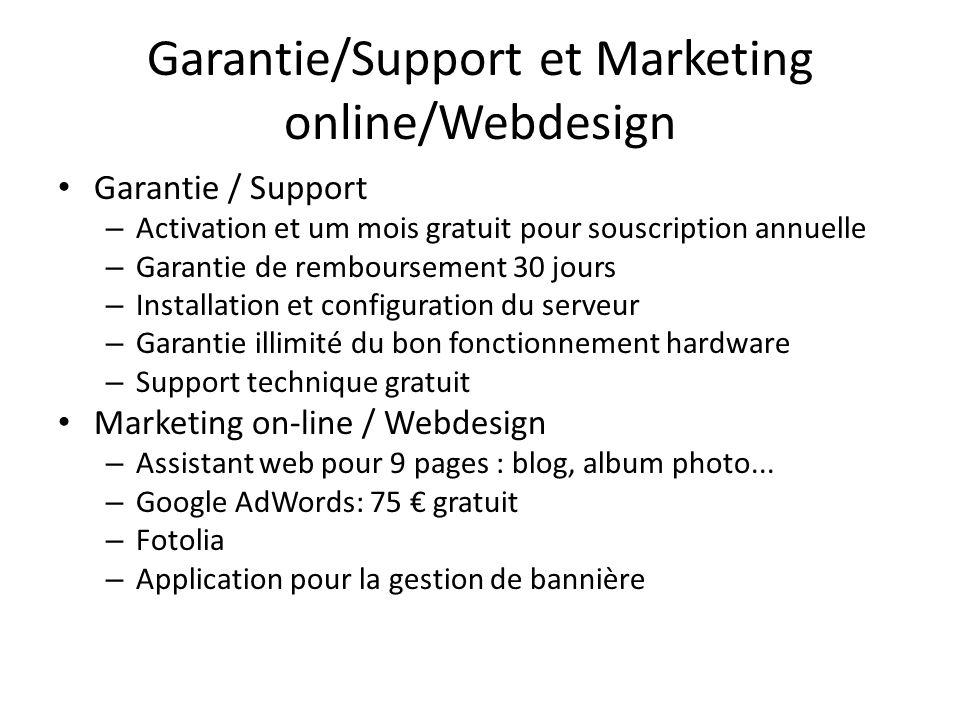Garantie/Support et Marketing online/Webdesign Garantie / Support – Activation et um mois gratuit pour souscription annuelle – Garantie de rembourseme