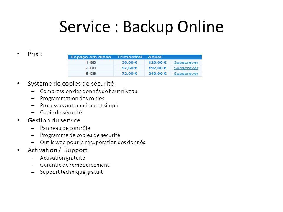 Service : Backup Online Prix : Système de copies de sécurité – Compression des donnés de haut niveau – Programmation des copies – Processus automatiqu