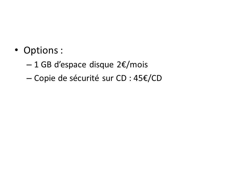 Options : – 1 GB despace disque 2/mois – Copie de sécurité sur CD : 45/CD