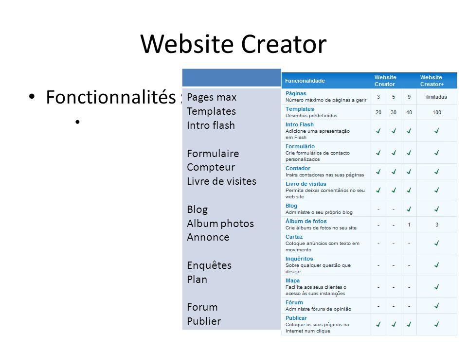 Website Creator Fonctionnalités : Pages max Templates Intro flash Formulaire Compteur Livre de visites Blog Album photos Annonce Enquêtes Plan Forum P