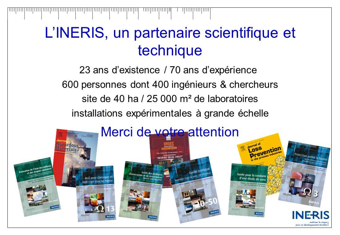 LINERIS, un partenaire scientifique et technique 23 ans dexistence / 70 ans dexpérience 600 personnes dont 400 ingénieurs & chercheurs site de 40 ha /