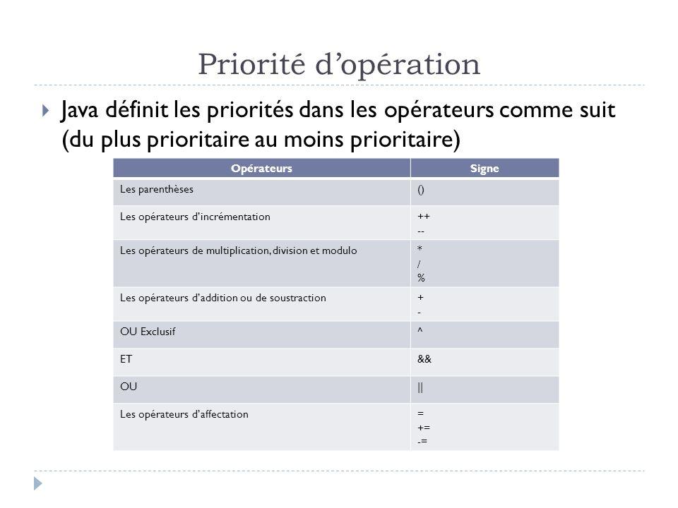 Priorité dopération Java définit les priorités dans les opérateurs comme suit (du plus prioritaire au moins prioritaire) OpérateursSigne Les parenthès