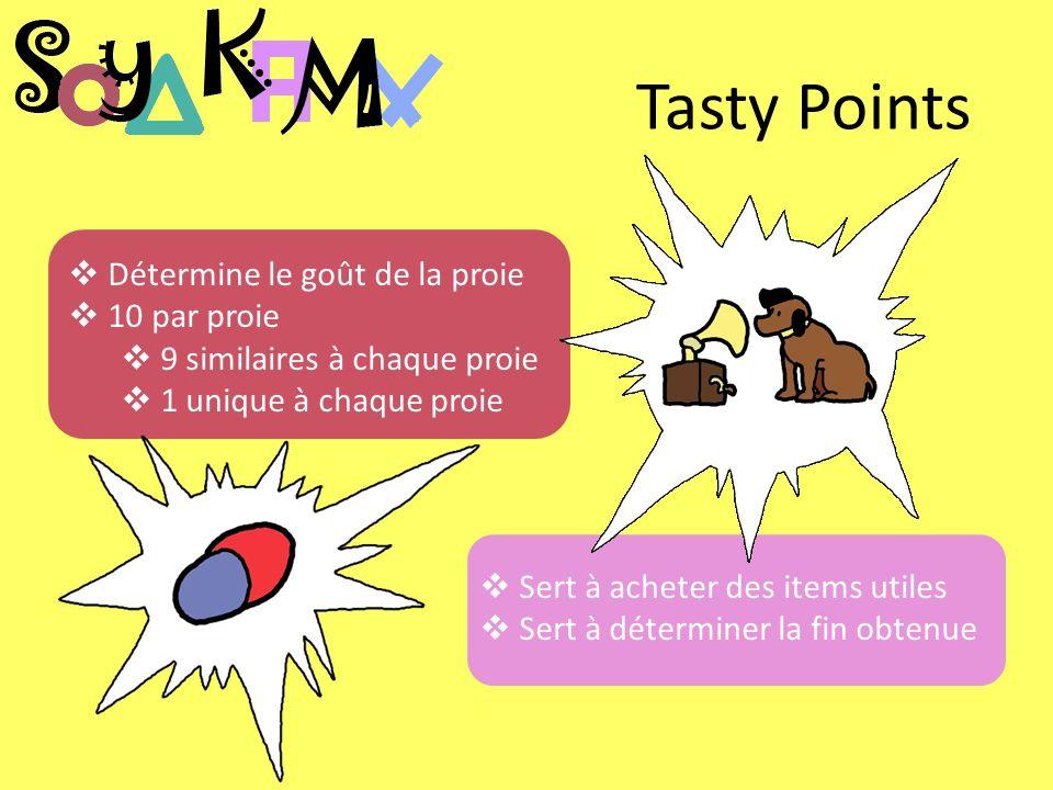 Tasty Points Détermine le goût de la proie 10 par proie 9 similaires à chaque proie 1 unique à chaque proie Sert à acheter des items utiles Sert à déterminer la fin obtenue