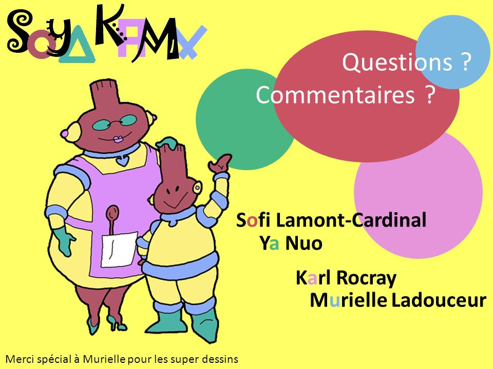 Karl Rocray Sofi Lamont-Cardinal Ya Nuo Murielle Ladouceur Questions .
