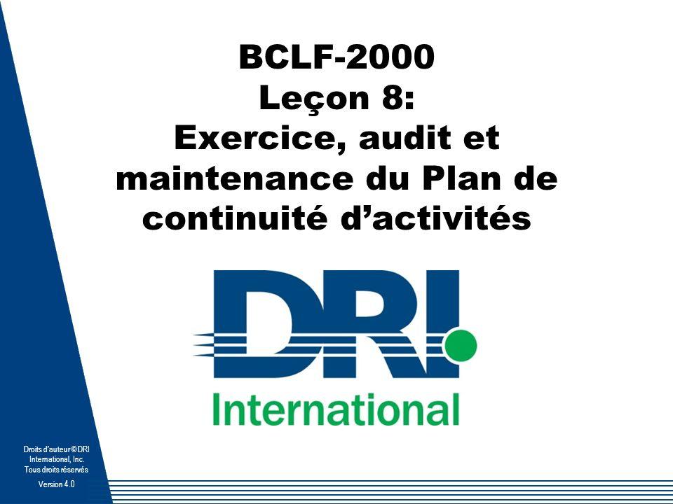 BCLF-2000 Page 8-1 Droits dauteur © DRI International, Inc.