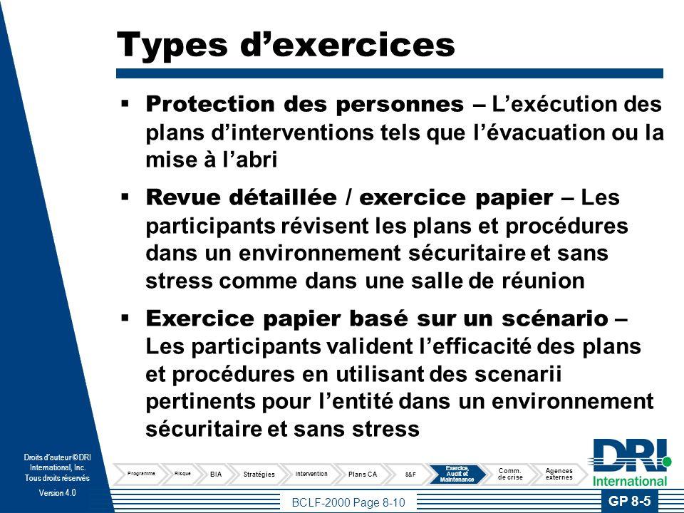 BCLF-2000 Page 8-10 Droits dauteur © DRI International, Inc. Tous droits réservés Version 4.0 Types dexercices Protection des personnes – Lexécution d