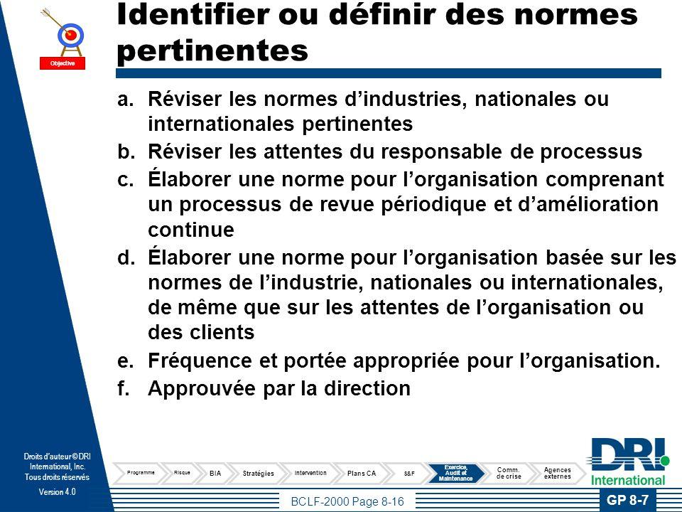 BCLF-2000 Page 8-16 Droits dauteur © DRI International, Inc. Tous droits réservés Version 4.0 Identifier ou définir des normes pertinentes a.Réviser l