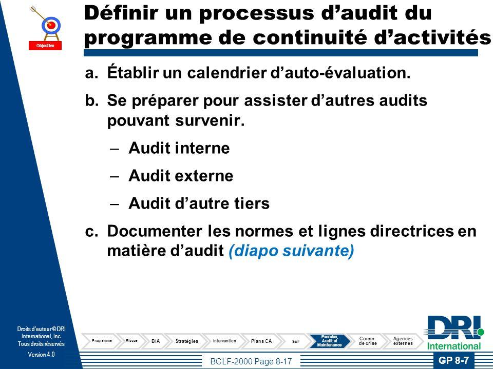 BCLF-2000 Page 8-18 Droits dauteur © DRI International, Inc.
