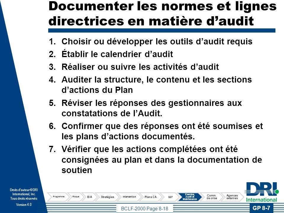 BCLF-2000 Page 8-19 Droits dauteur © DRI International, Inc.