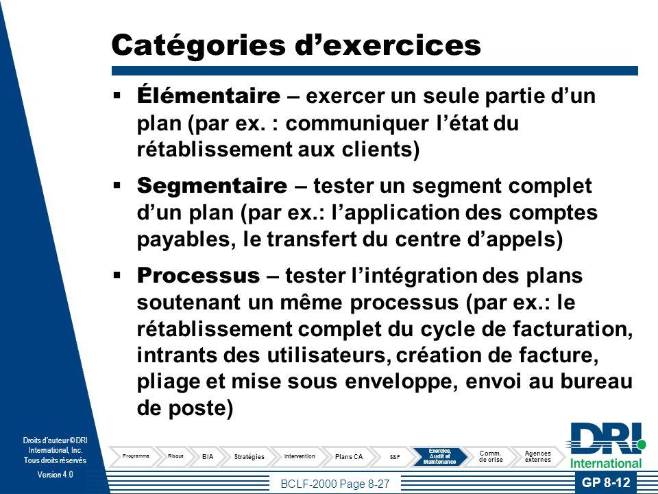 BCLF-2000 Page 8-28 Droits dauteur © DRI International, Inc.