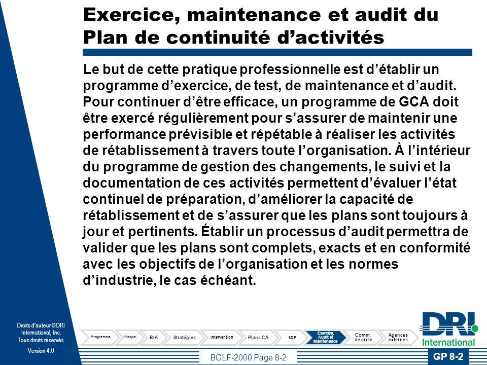 BCLF-2000 Page 8-3 Droits dauteur © DRI International, Inc.