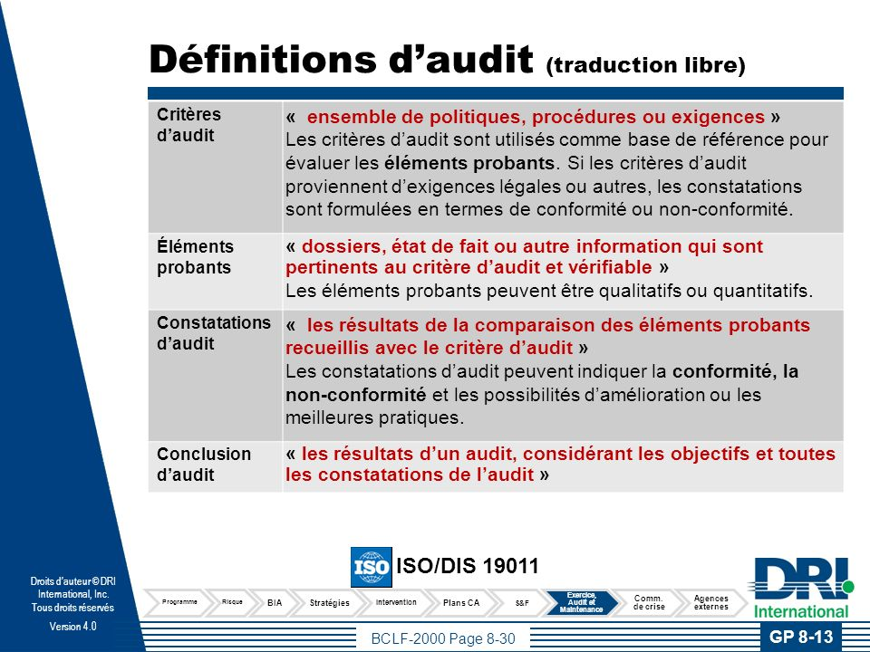 BCLF-2000 Page 8-30 Droits dauteur © DRI International, Inc. Tous droits réservés Version 4.0 Définitions daudit (traduction libre) Critères daudit «
