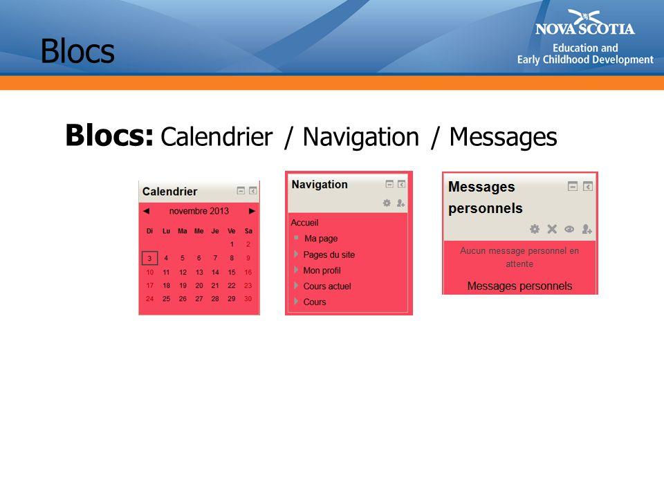 Blocs Blocs: Calendrier / Navigation / Messages
