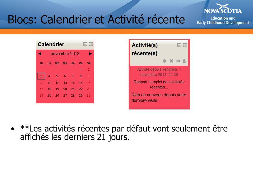 Blocs: Calendrier et Activité récente **Les activités récentes par défaut vont seulement être affichés les derniers 21 jours.