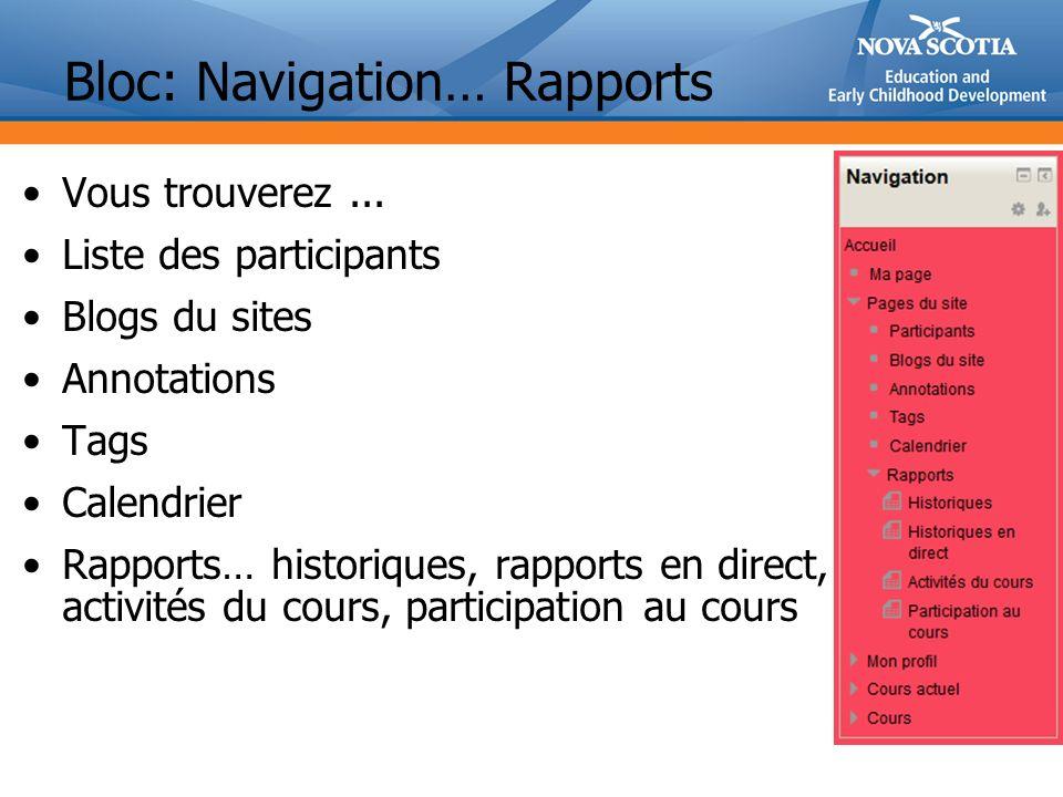 Bloc: Navigation… Rapports Vous trouverez...