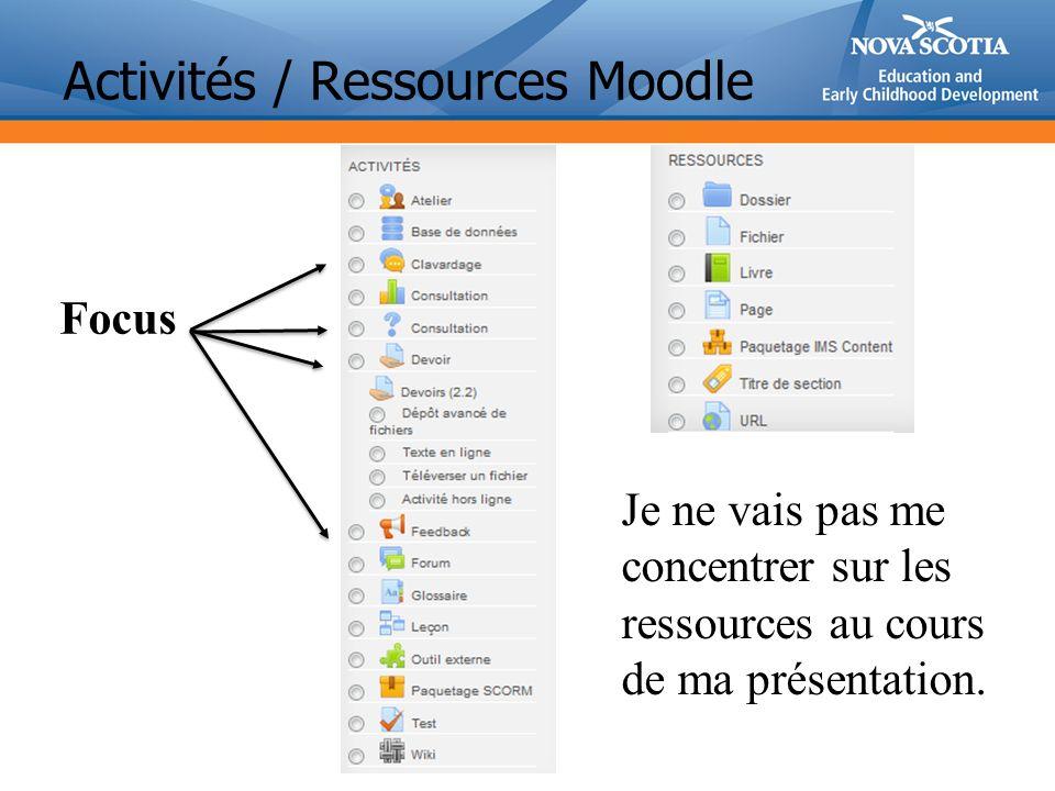 Activités / Ressources Moodle Focus Je ne vais pas me concentrer sur les ressources au cours de ma présentation.