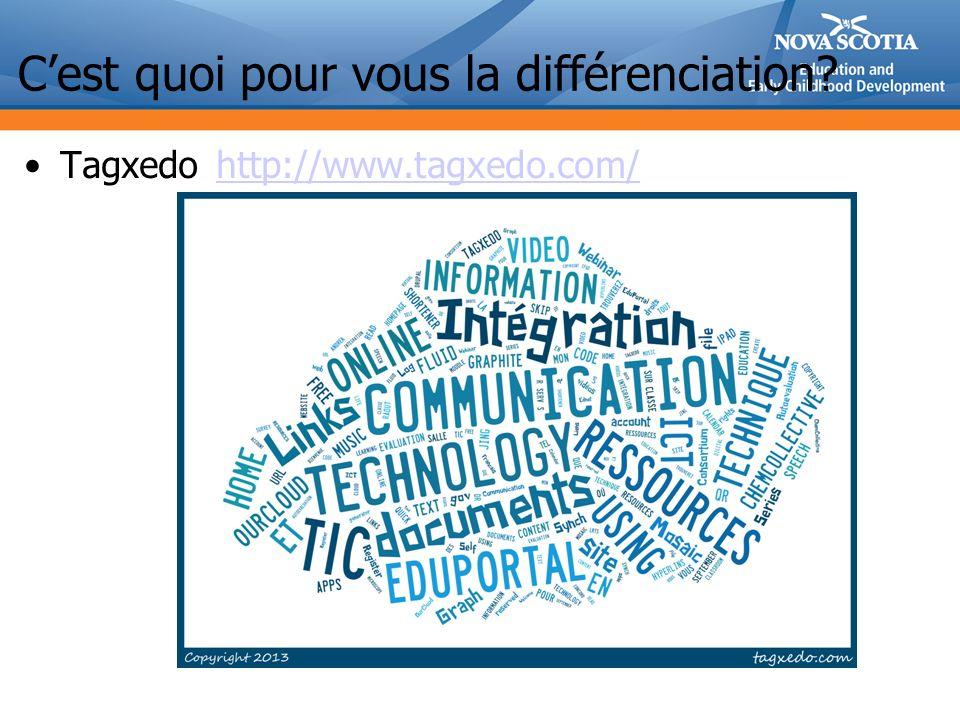 Cest quoi pour vous la différenciation? Tagxedohttp://www.tagxedo.com/http://www.tagxedo.com/