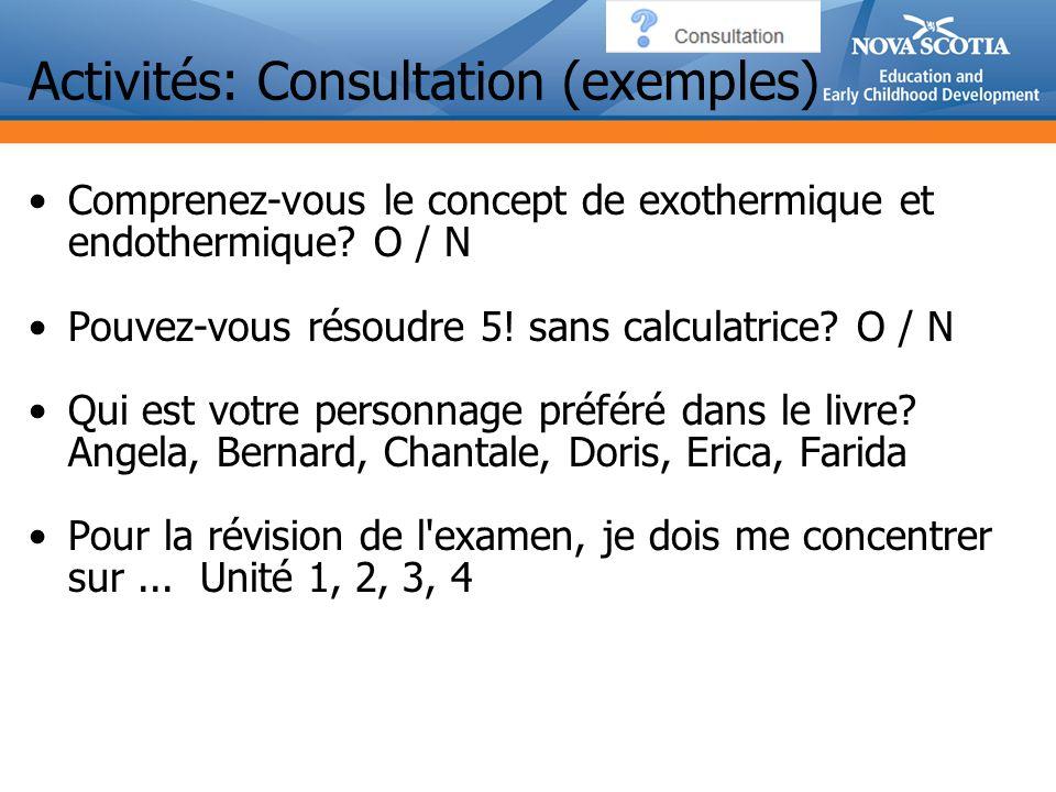 Activités: Consultation (exemples) Comprenez-vous le concept de exothermique et endothermique.