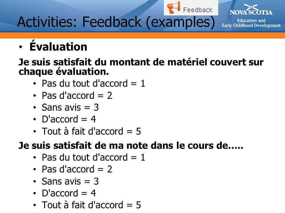 Activities: Feedback (examples) Évaluation Je suis satisfait du montant de matériel couvert sur chaque évaluation.