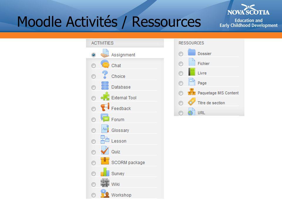Moodle Activités / Ressources