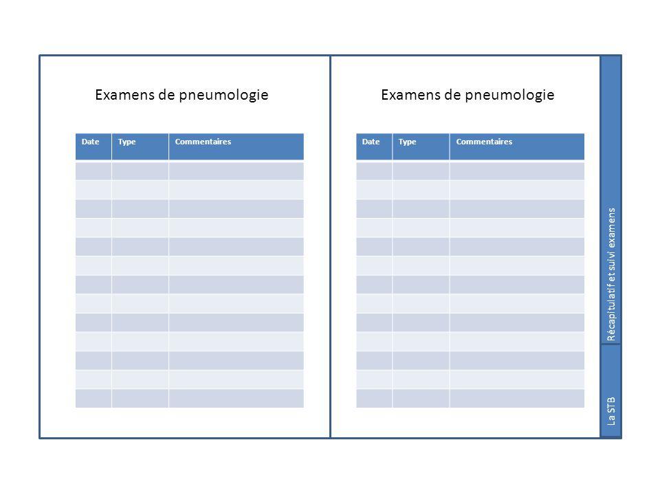 Examens de pneumologie Suivi examens La STB DateTypeCommentaires DateTypeCommentaires Récapitulatif et suivi examens