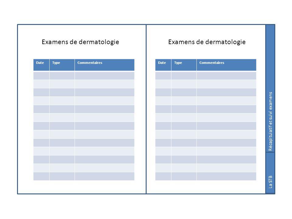 Examens de dermatologie Suivi examens La STB DateTypeCommentaires DateTypeCommentaires Récapitulatif et suivi examens