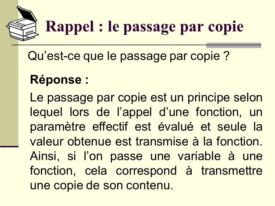 Rappel : la portée Réponse : Cest une variable qui est visible dans lensemble des fonctions qui apparaissent après sa déclaration.