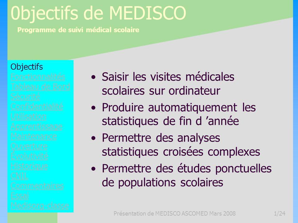 Programme de suivi médical scolaire Présentation de MEDISCO ASCOMED Mars 20081/24 0bjectifs de MEDISCO Saisir les visites médicales scolaires sur ordi