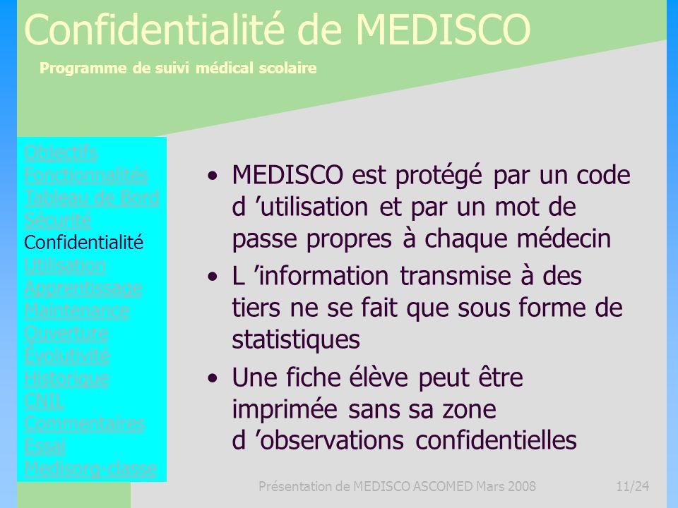 Programme de suivi médical scolaire Présentation de MEDISCO ASCOMED Mars 200811/24 Confidentialité de MEDISCO MEDISCO est protégé par un code d utilis