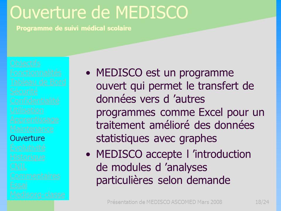 Programme de suivi médical scolaire Présentation de MEDISCO ASCOMED Mars 200818/24 Ouverture de MEDISCO MEDISCO est un programme ouvert qui permet le