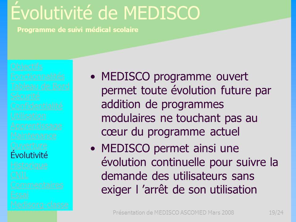 Programme de suivi médical scolaire Présentation de MEDISCO ASCOMED Mars 200819/24 Évolutivité de MEDISCO MEDISCO programme ouvert permet toute évolut